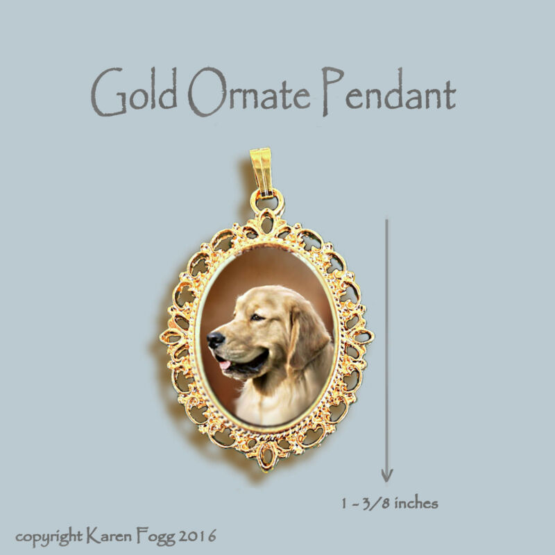 GOLDEN RETREIVER DOG - ORNATE GOLD PENDANT NECKLACE