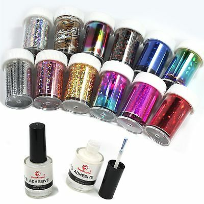 Hot 12 Color Nail Art Transfer Foil Sticker for Nail Tips Decoration &2 8ml Glue