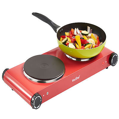 VonShef Hot Plate Double Cooker Hob Red Table top Electric Portable 2500W