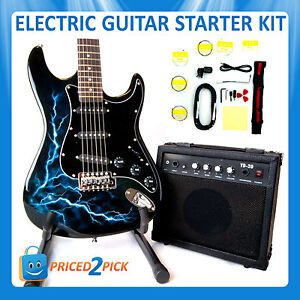 black electric guitar and amp amplifier with stand bag strap tuner set kit pack ebay. Black Bedroom Furniture Sets. Home Design Ideas