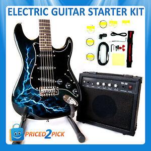 black electric guitar and amp amplifier with stand bag strap tuner set kit pack ebay. Black Bedroom Furniture Sets. Home Design Ideas