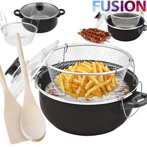 NON STICK CHIP PAN SET FRYER DEEP FAT FRYING BASKET POT W GLASS LID BLACK 24CM