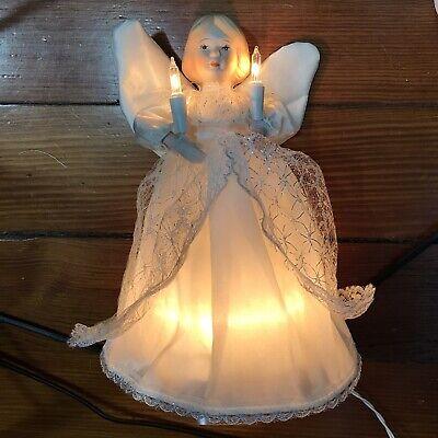 Vintage Illuminated Angel Christmas Tree Topper Porcelain Head & Hands