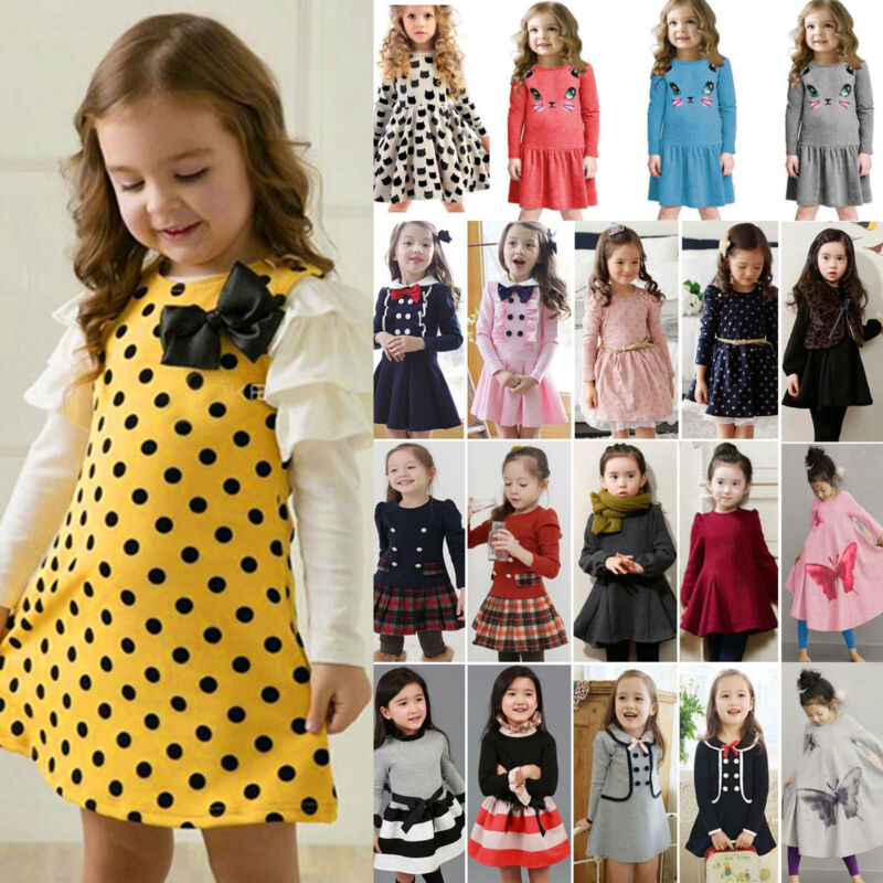 Kids Girl Baby Toddler Winter Long Sleeve Dress Princess Par