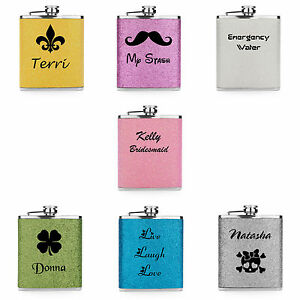 Custom-7oz-Stainless-Steel-GLITTER-BLING-FLASK-pink-purple-silver-PERSONALIZED