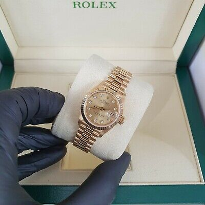 MINT Ladies 18ct Gold Rolex Oyster Perpetual Datejust - Factory Champagne Dial.