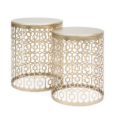 2PC Set Round Gold Decorative Accent Sofa Side Table Nightstand Art Deco Vintage Round Set Side Table