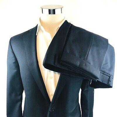 Brooks Brothers Regent Slim Striped Black 2 Button Suit 42L Flat Cuff (Black Striped 2 Button Suit)