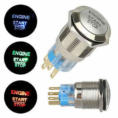 19mm 12v Bright Led Power Symbol Start Stop Car Engine Push Button Switch Latch