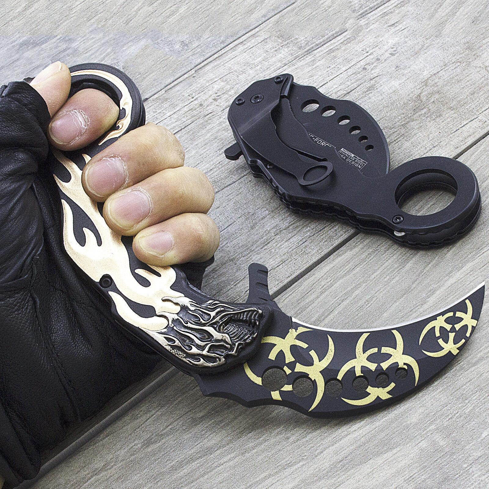 """8"""" TAC FORCE KARAMBIT SPRING ASSISTED TACTICAL FOLDING KNIFE Blade Pocket Open"""