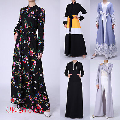 New Muslim Women Kaftan Islamic Long Sleeve Flower Arab Abaya Evening Maxi Dress