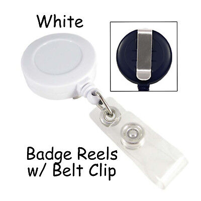 25 Id Badge Reels Lanyards - White - Retractable With Belt Clip Plastic Strap