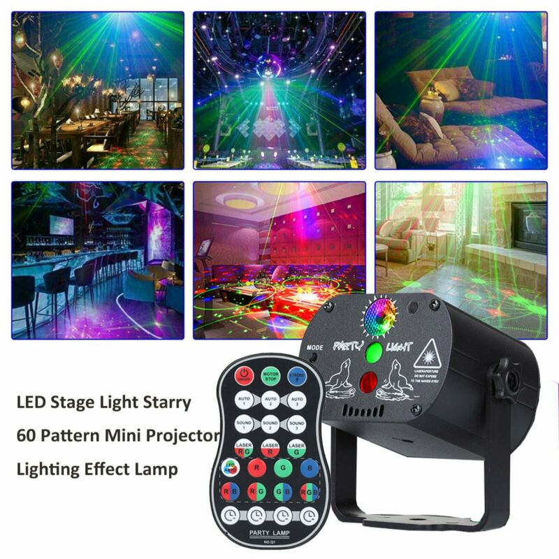 LED 60 Pattern Laser Projector RGB Stage Lighting Party KTV DJ Disco Lights Club