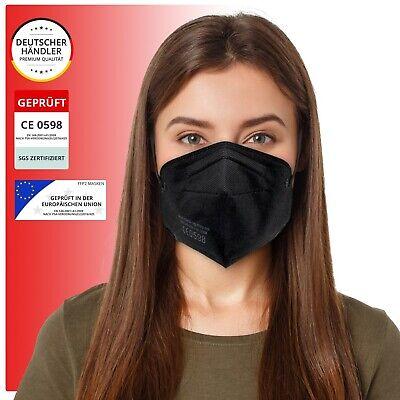 10x SGS gepr. FFP2 Atemschutzmasken Mundschutzmaske Halbmaske Schwarz o. Ventil