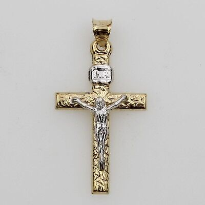14K Real 2 Two Tone Yellow White Gold Jesus Small Crucifix Cross Hollow Pendant ()