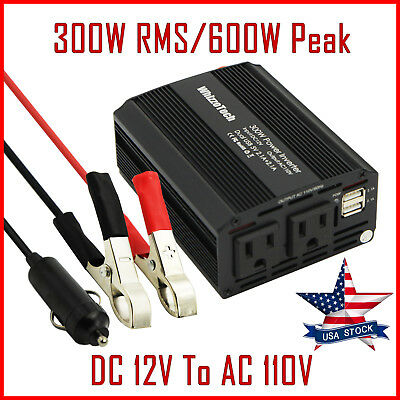 300W Car Power Inverter DC 12V To AC 110V 60Hz Dual USB 2.1A