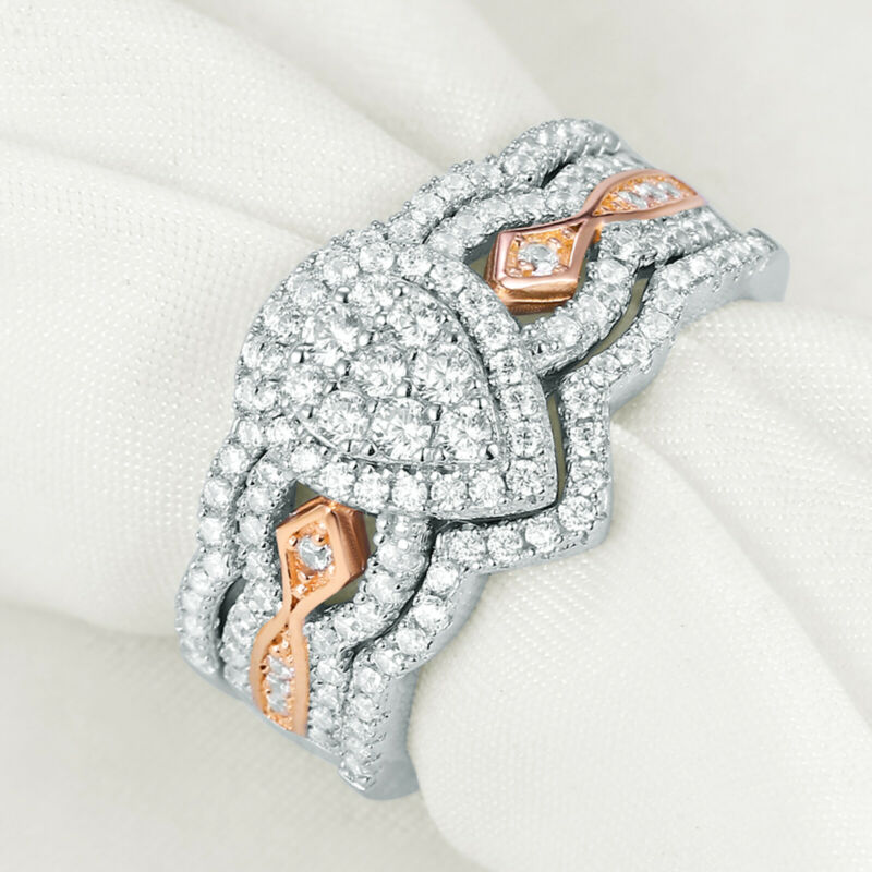 Newshe Pear Engagement Wedding Ring Set For Women Rose Gold Cz Sterling Silver