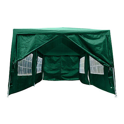 3Mx6M Gazebo Marquee Canopy w/Sides Waterproof Garden Wedding Party Tent Green