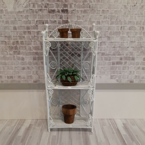 Dollhouse Miniatures 1 12 Vintage Wire Wicker Rack,Bookcase Shelved With Plant - $39.99