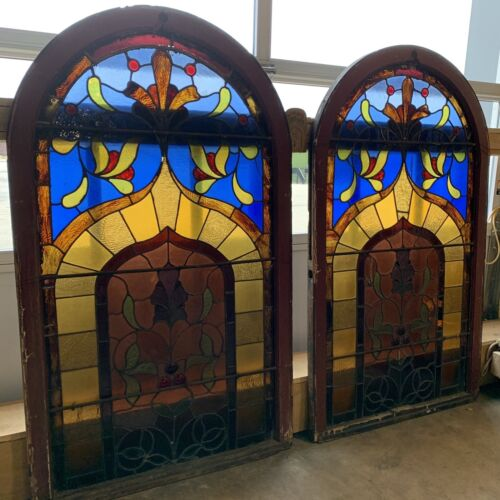 Reclaimed Arched Stained Glass Windows