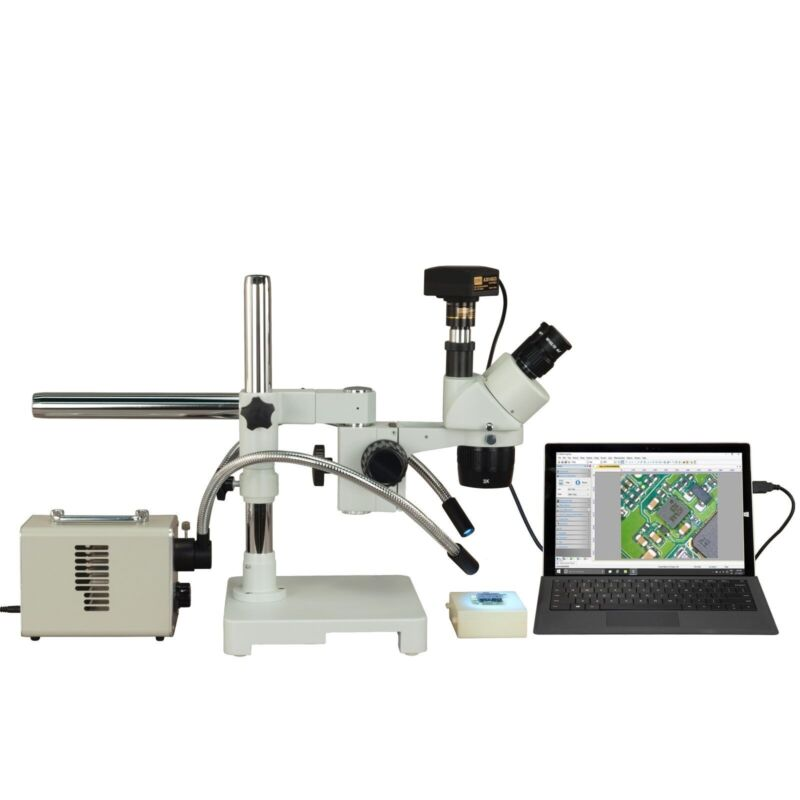 Trinocular 5x-10x-15x-20x-30x-60x 18mp Usb 3.0 Boom Microscope+20w Fiber Light