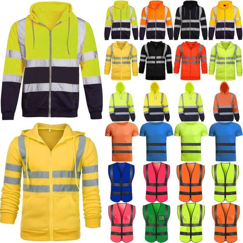 Hi Vis Mens Safety Hoodie Jacket Coat High Visibility Reflec