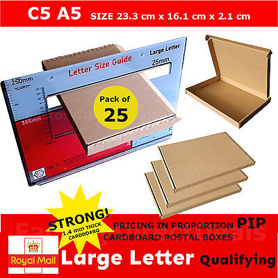 25 x  PIP POSTAL BOXES SIZE C5 A5 ROYAL MAIL LARGE LETTER STRONG CARDBOARD BOX