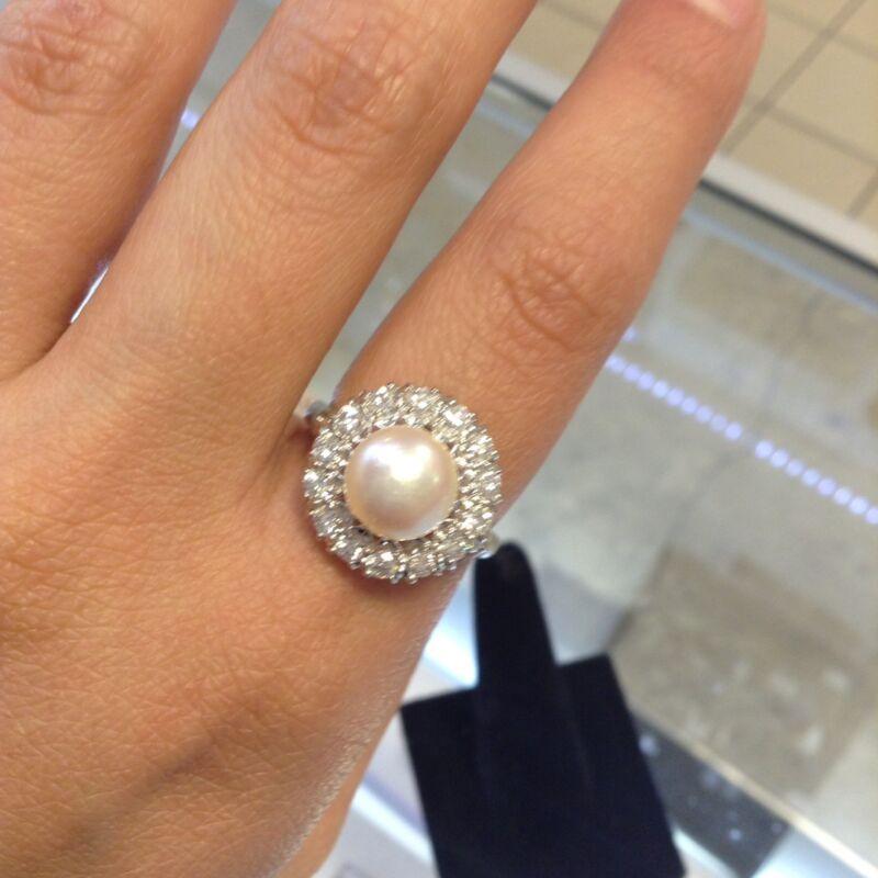 South Sea Pearl and Diamond Ring - Platinum Estate Piece