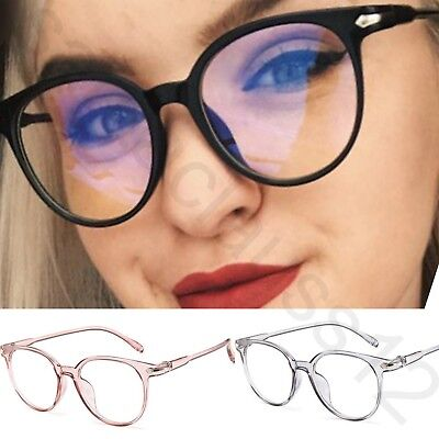 Oval Vintage Cat Eye Clear Lens Fashion Glasses Acrylic Frame Womens Mens
