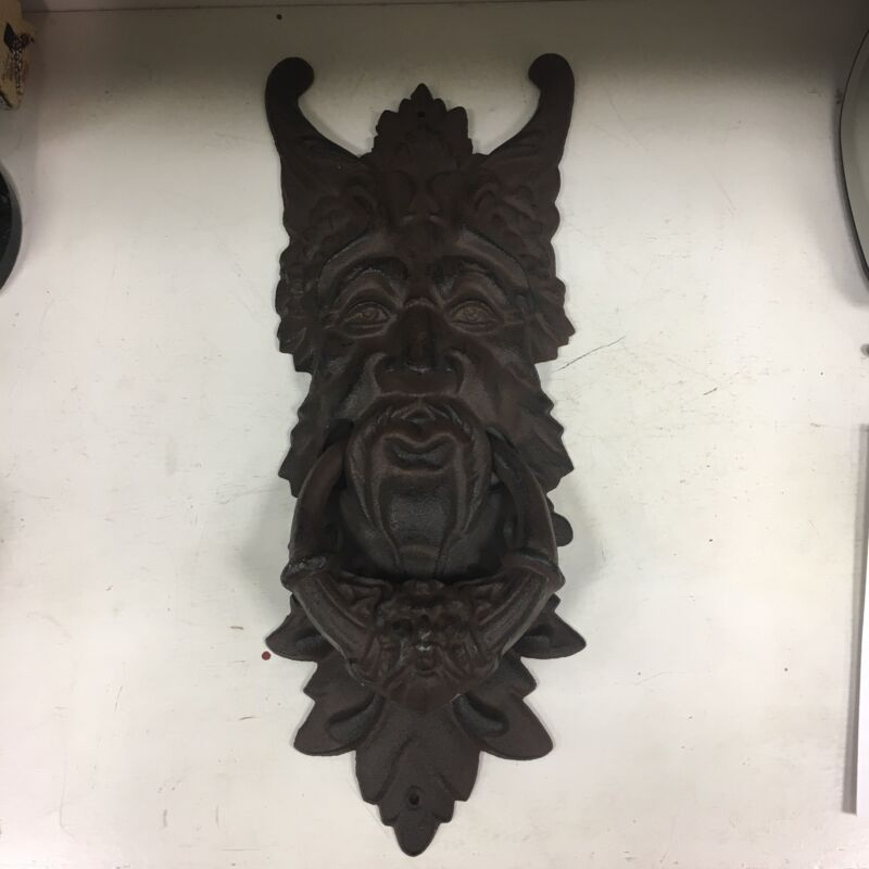 "GARGOYLE DOOR KNOCKER cast iron LARGE 20"" rust brown GREEN MAN CELTIC LEAF Metal"