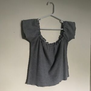 Grey off the shoulder crop top