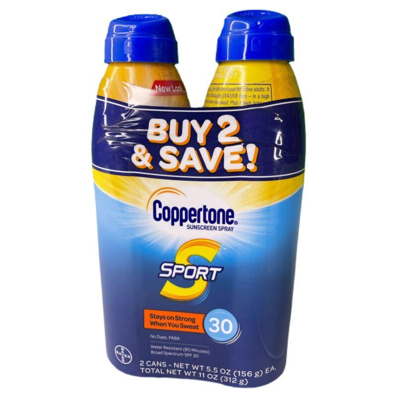 2-Pack Coppertone SPORT Sunscreen Spray SPF 30 5.5 oz each Sweat Proof