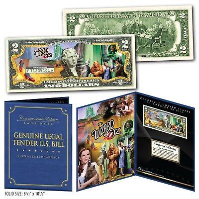 WIZARD OF OZ Yellow Brick Road Legal Tender U.S. $2 Bill in Large Folio Display