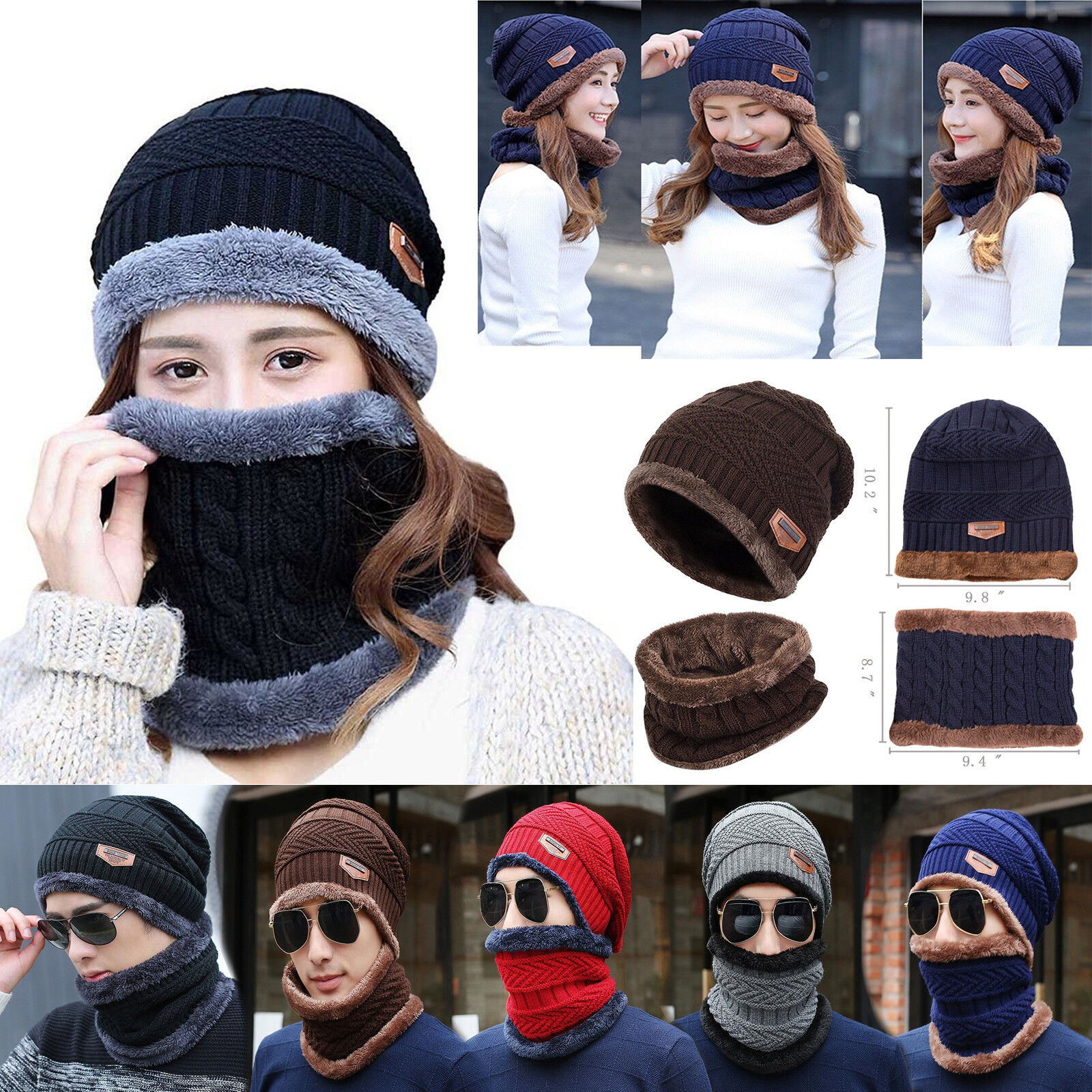 Scarf - Unisex Scarf And Hat Set Men Womens Warm Knitted Beanie Scarves Knit Winter Hot