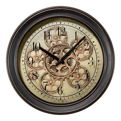 """BBB85289 La Crosse Clock Company 13"""" Metal Analog Wall Clock with Working Gears for sale  La Crosse"""