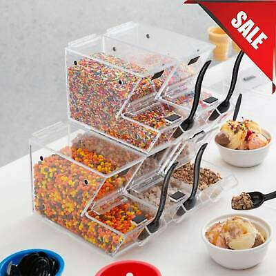 10 Pack Ice Cream Topping Candy Clear Stackable Dispenser Soft Serve Machine New