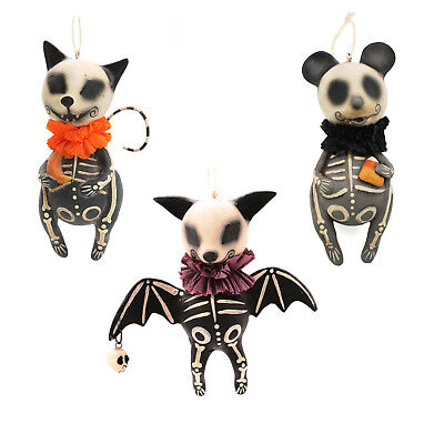 Hanging Bat Decorations Halloween (Bethany Lowe Animal Skeleton Hanging Halloween Decoration Bat Cat Mouse)