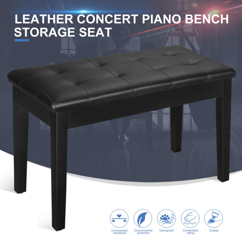 Deluxe Padded Bench Keyboard  Concert Piano Storage Seat Portable Solid Wood