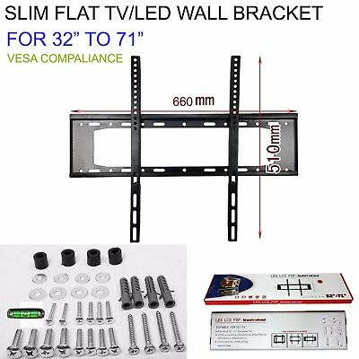 32 TO 71 SLIM FLAT TV LED LCD OLED QLED WALL MOUNT BRACKET FOR 55 60 65 70 INCH