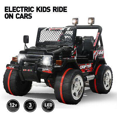 Black 12V Ride On Car Electric Power Kids Toys Jeep Remote Control 3 Speed Music ()