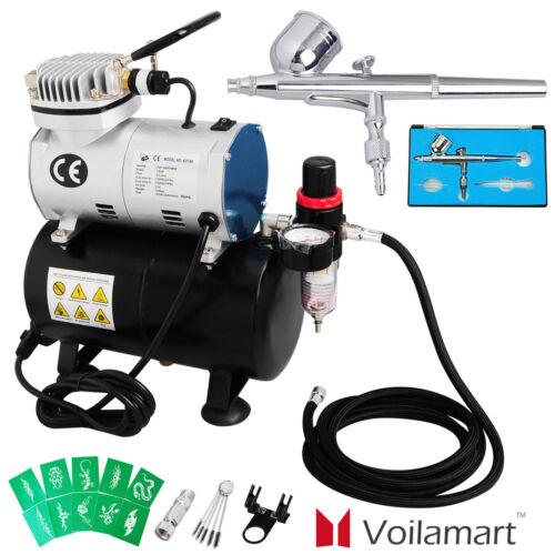 Voilamart Airbrush Compressor Kit Air Brush Dual Action Spray Gun Hose Paint Art