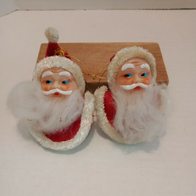 Vtg Flocked Plastic Red Suit  Santa Claus Ornaments Lot of 2 Made in Japan