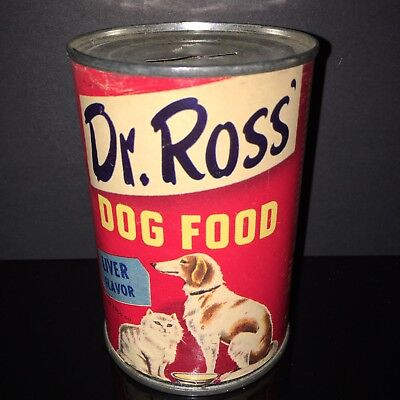 BEST IN SHOW! Dr. Ross 1950s Dog Food Tin Can Wolfhound Paper Label Pet