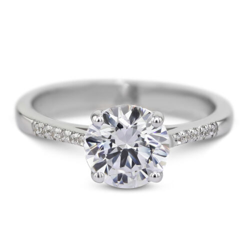 GIA CERTIFIED 1.15 Carat Round Cut D - VS1 Side Stone Diamond Engagement Ring