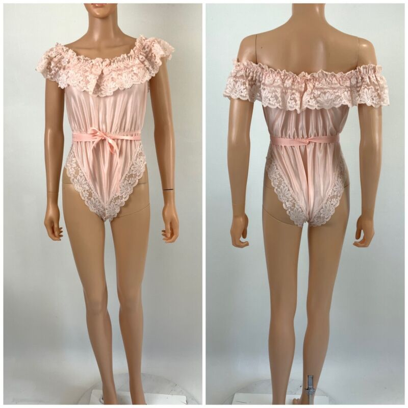 Vintage 60s Promise By Poirette Peach Satin Lace Negligee Teddy High Cut SEXY S