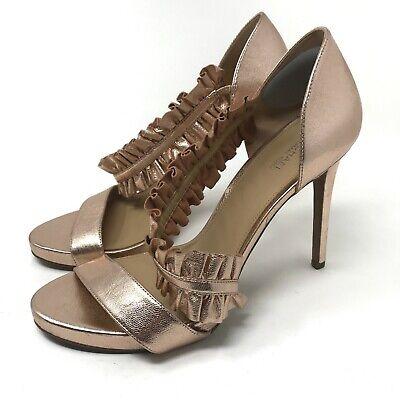 Michael Kors Women's Bella Platform Ruffle Dress Sandals Sz 9 Rose Gold Metallic Michael Kors Womens Dress Sandal