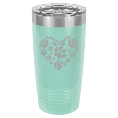 Print Insulated Travel Mug (Tumbler 20oz 30oz Travel Mug Cup Vacuum Insulated Stainless Heart Paw Prints)