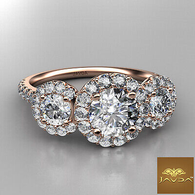 Halo 3 Stone Micro Pave Round Diamond  Engagement Ring GIA D VS2 Clarity 1.50Ct 9