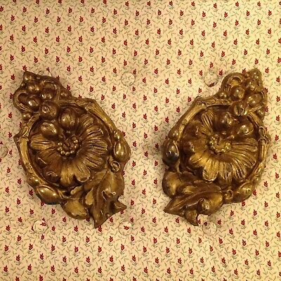 Pair Of French Antique Repouse Brass Scroll Decorative Furniture Mounts