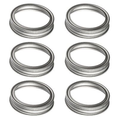 Jar Carbon - Carbon Steel Screw Bands Rings for Ball, Mason, Canning Jars (Regular, 6 pack)